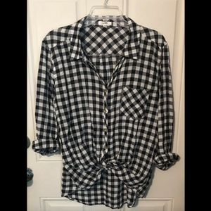 Maurices Navy Check Button Front Blouse Sz XL